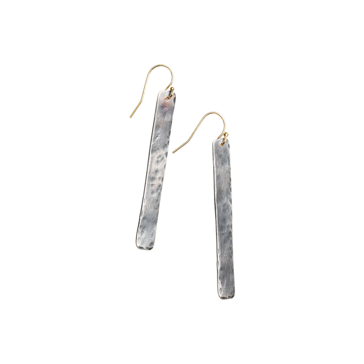 Long Hammered Rectangle Earrings