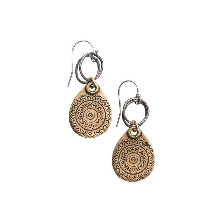 Yellow Bronze Teardrop Tapestry Earring