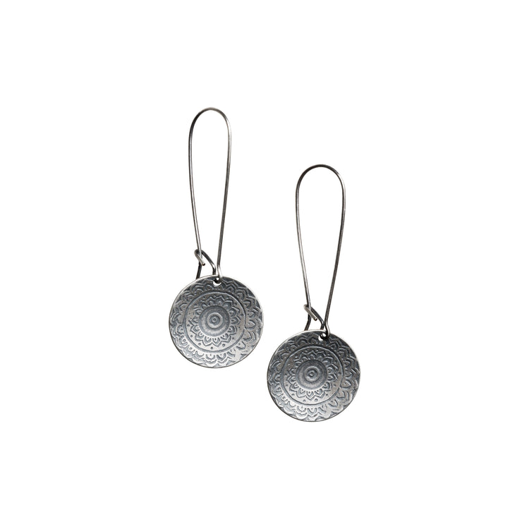 Round Tapestry Earrings on Kidney Wire