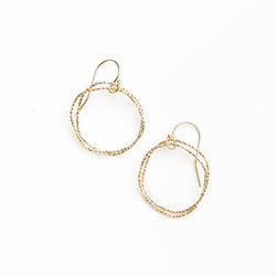 Shimmery Organic Circle Earrings