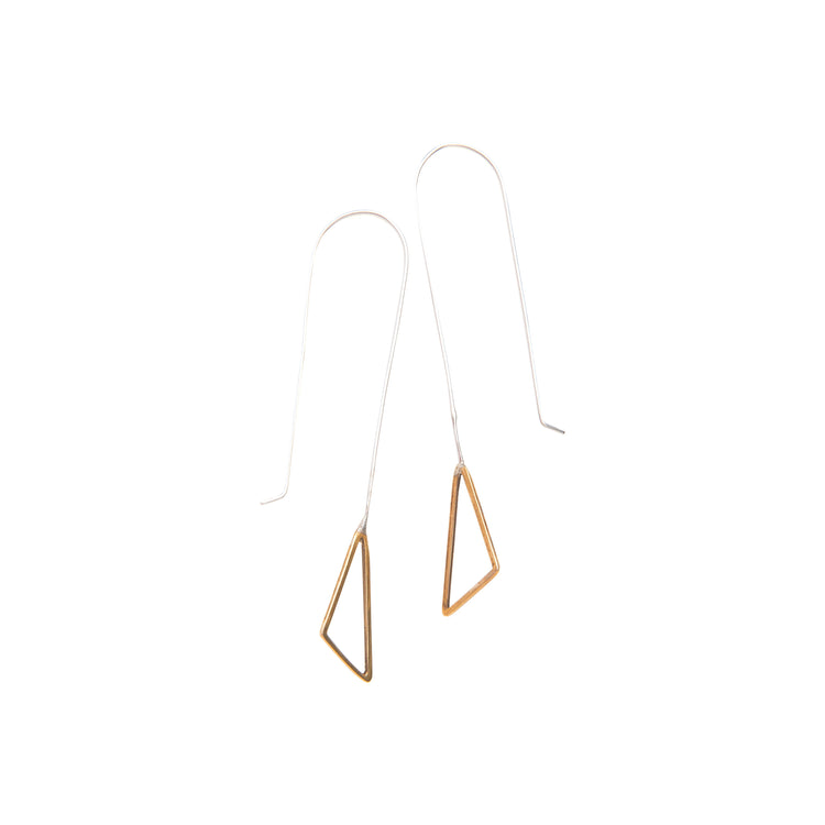 Long Wire Triangle Earrings