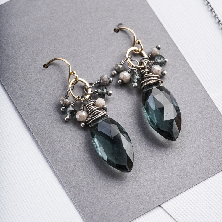 Hydro Quartz Earrings with Stone Accents