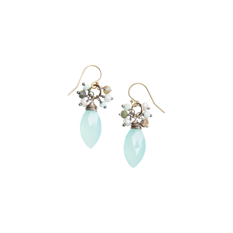 Chalcedony Earrings with Peruvian Opal Accents