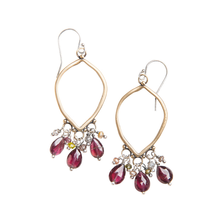 Red Garnet and Sapphire Chandelier Earrings