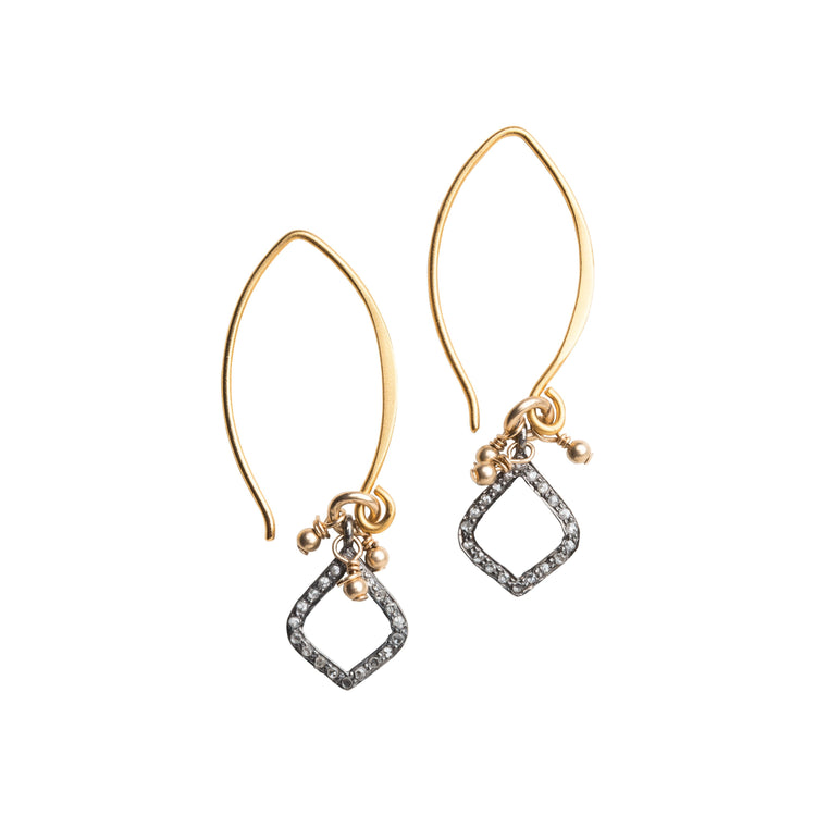 Arabesque Pave Set Diamond Drop Earrings, Small