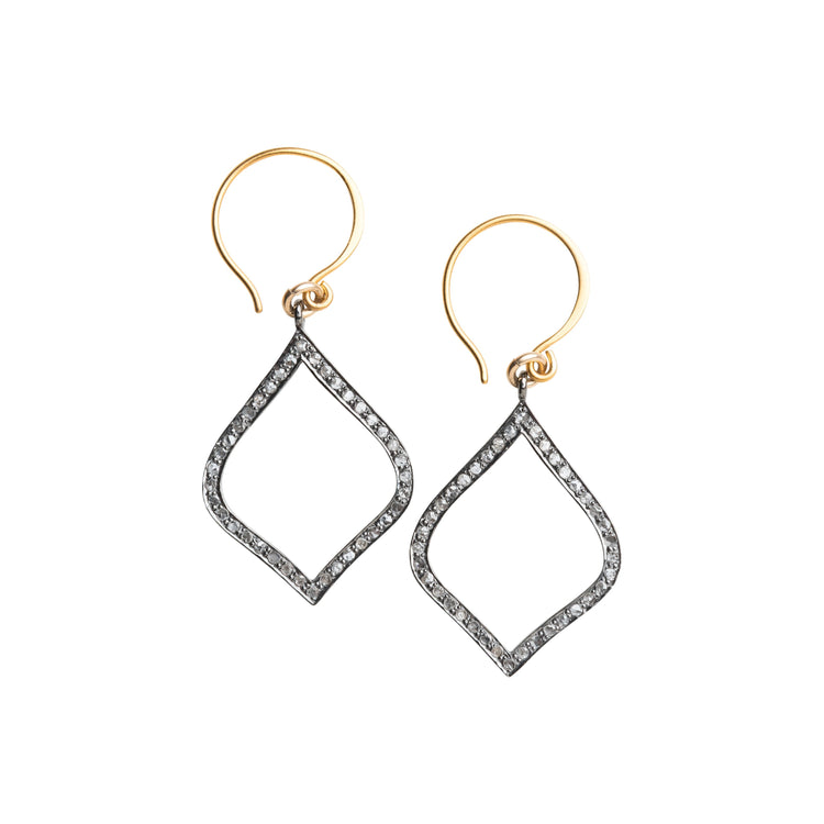 Arabesque Pave Set Diamond Drop Earrings, Large
