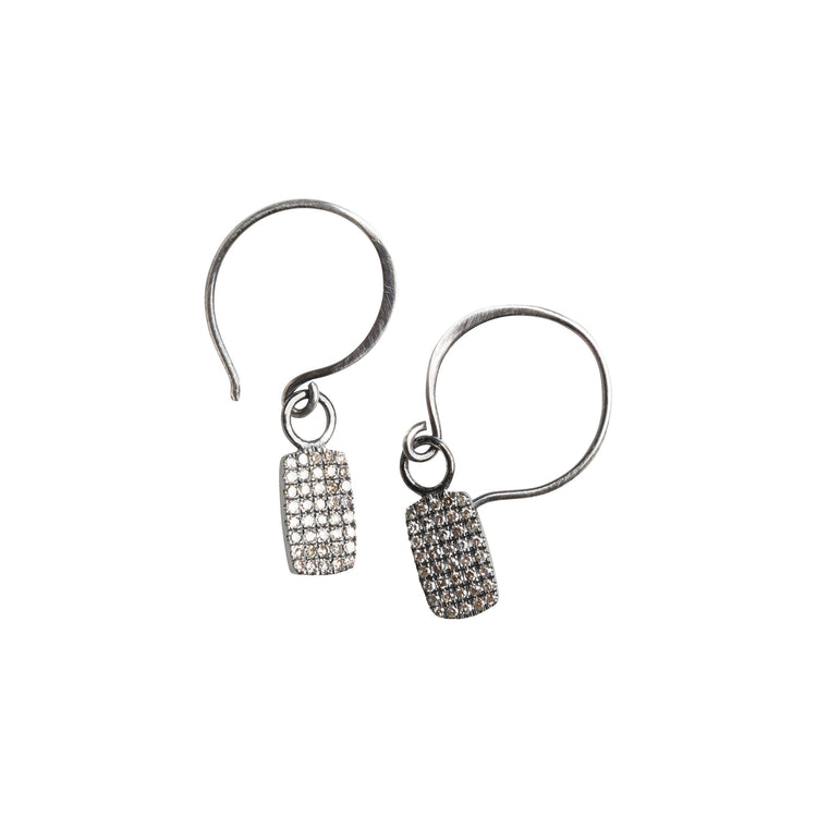 Pave Diamond Dog Tag Earrings