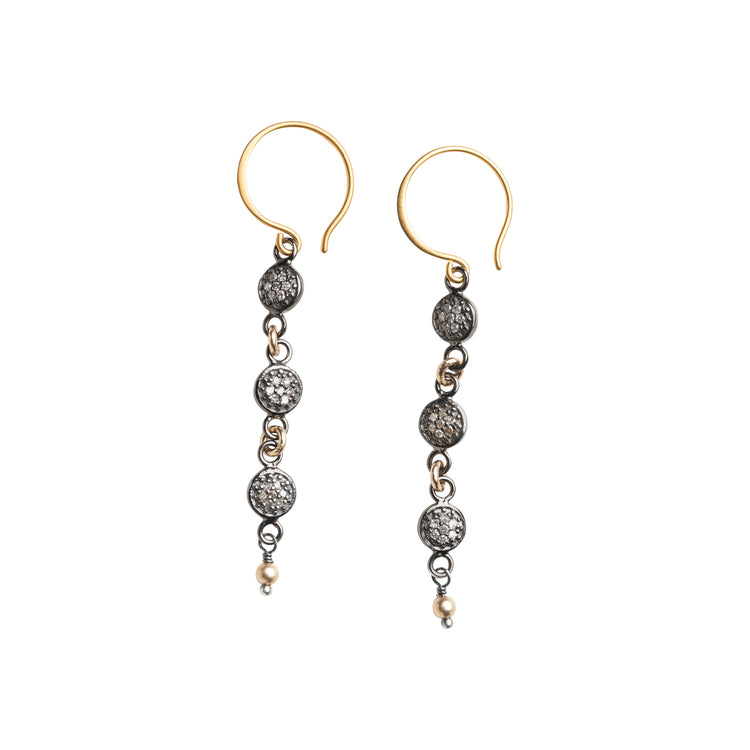 Round Pave Diamond Chandelier Earrings
