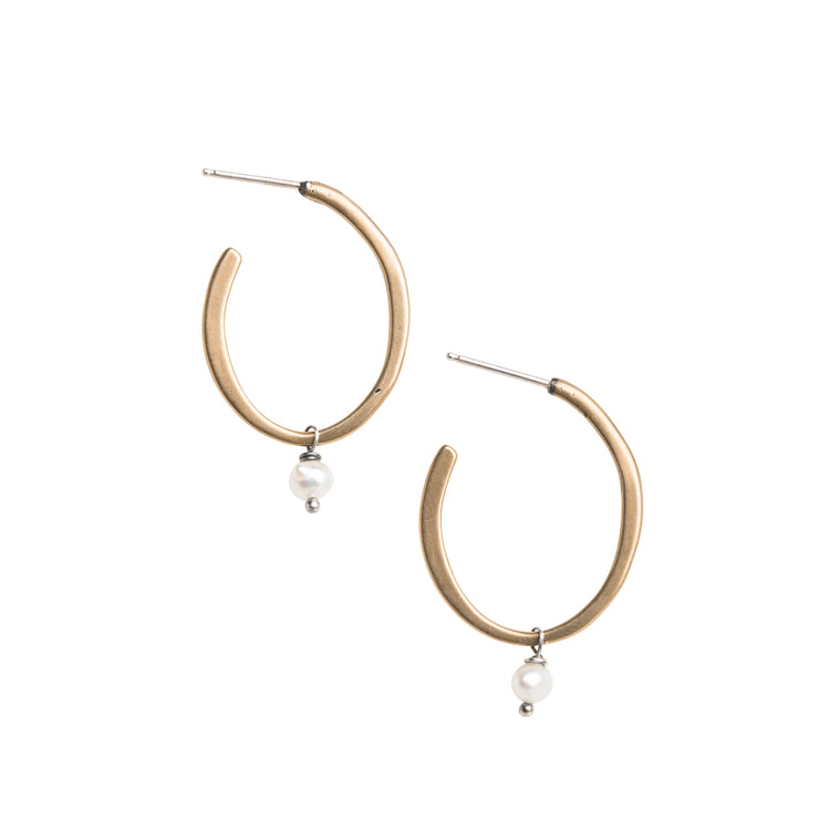 Small Yellow Bronze Hoop Stud Earrings with Freshwater Pearl Accent