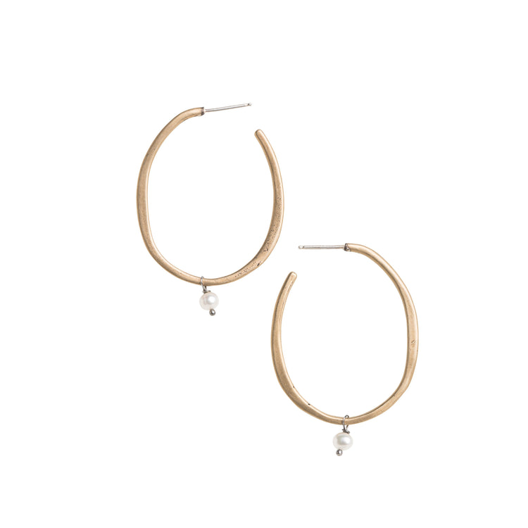 Medium Yellow Bronze Hoop Stud Earrings with Freshwater Pearl Accent