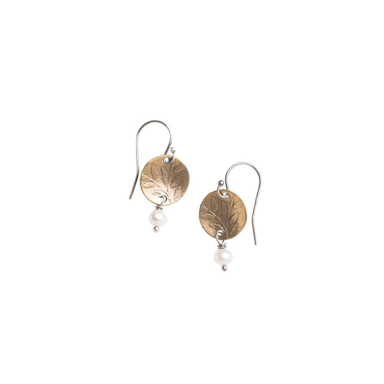 Yellow Bronze and Modern Pearl Earrings