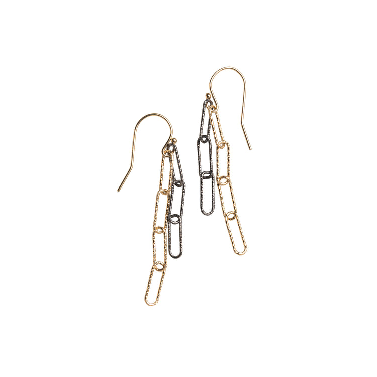 Mixed Metal Paperclip Earrings