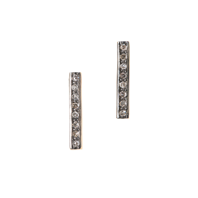 Eight-Stone Pave Diamond Bar Stud Earrings
