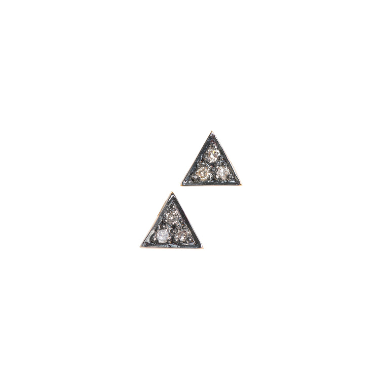 Petite Triangle Pave Diamond Stud Earrings
