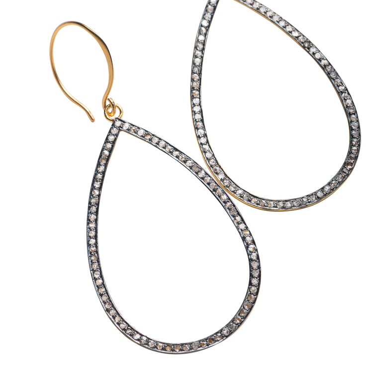 Grande Open Teardrop Pave Diamond Earrings