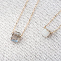 Diamond-Wrapped Rectangular Gemstone Necklace in 14K Gold