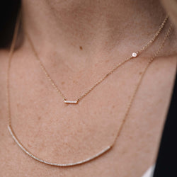 Diamond Small Bar Necklace with Diamond Accent in 14K Gold