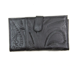 Leaders in Leather Tooled Wallet with Magnetic Closure