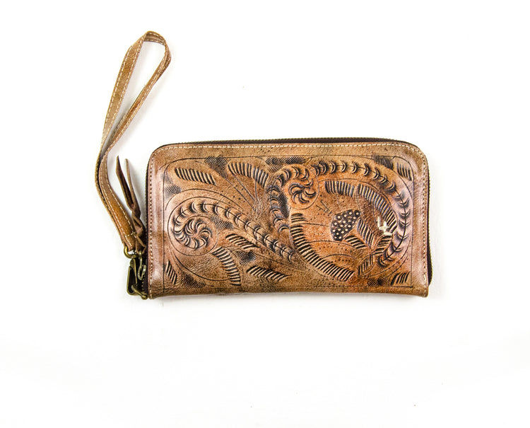 Tooled Zip Around Wallet