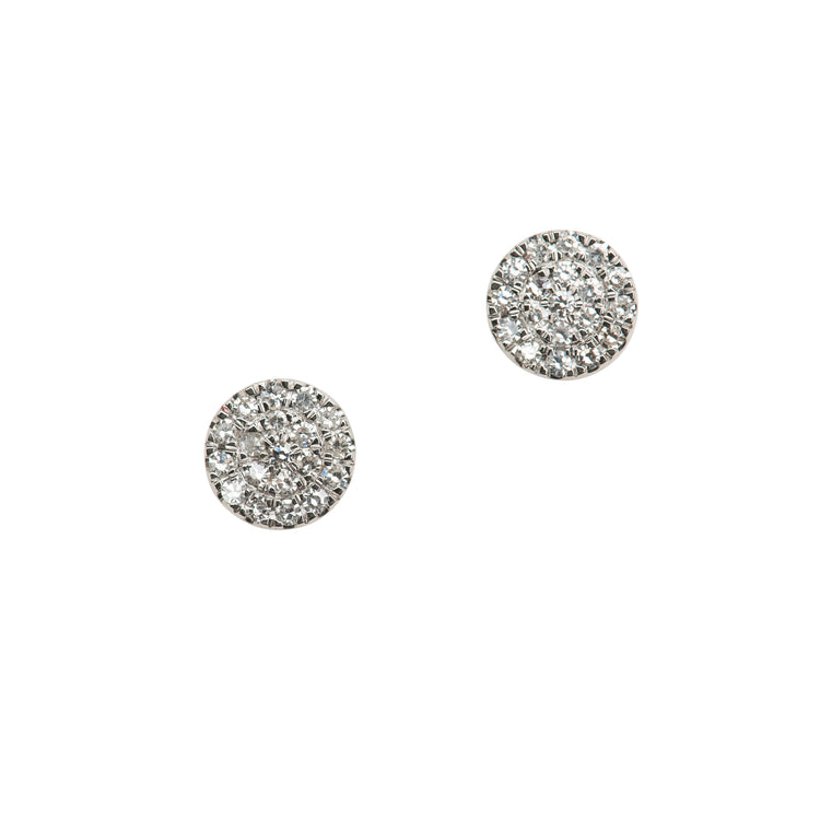 Diamond Pave Medium Round Stud Earrings in 14K Gold