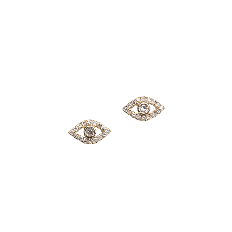 Diamond Evil Eye Stud Earrings in 14K Gold