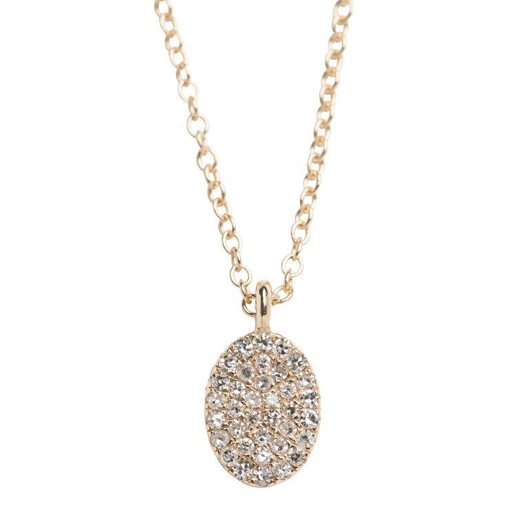 Diamond Pave Oval Necklace in 14K Gold