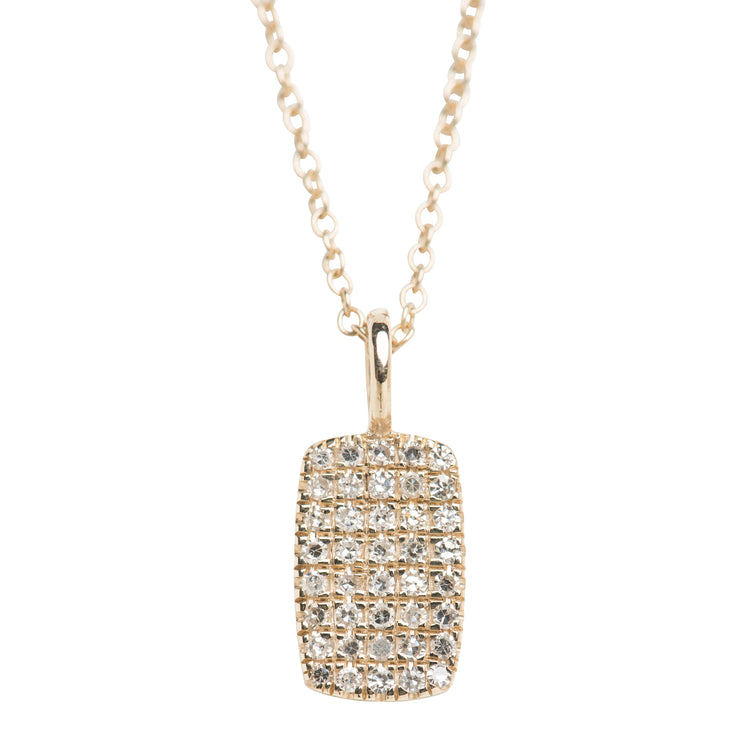 Diamond Pave Dog Tag Necklace in 14K Gold