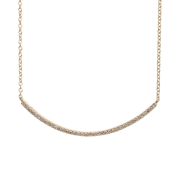 Diamond Short Curve Necklace in 14K Gold