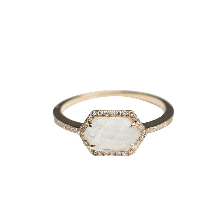 Diamond Halo Oblong Hex Gemstone Ring in 14K Gold