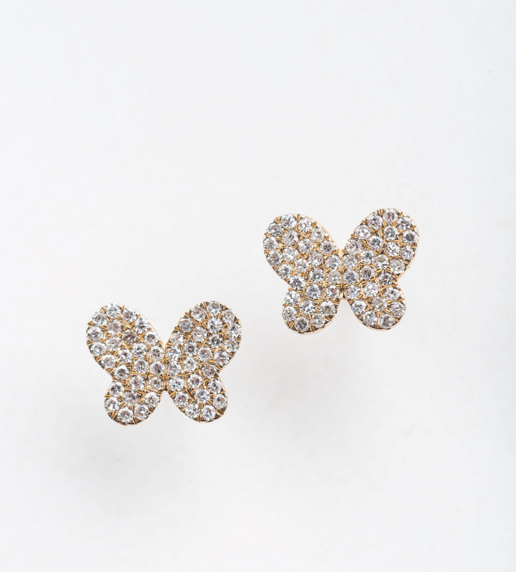 Diamond Butterfly Stud Earrings in 14K Gold