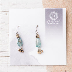 Blue Zircon Nugget Earrings