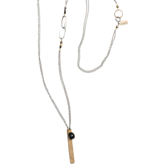 Bezeled Stone with Chain Accent Necklace
