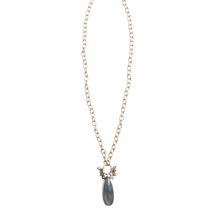Labradorite statement necklace on matte gold filled chain
