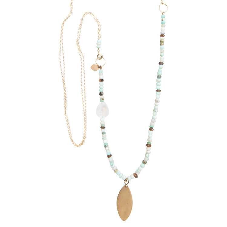 Moonstone Mix Statement Necklace with Yellow Bronze Leaf Pendant