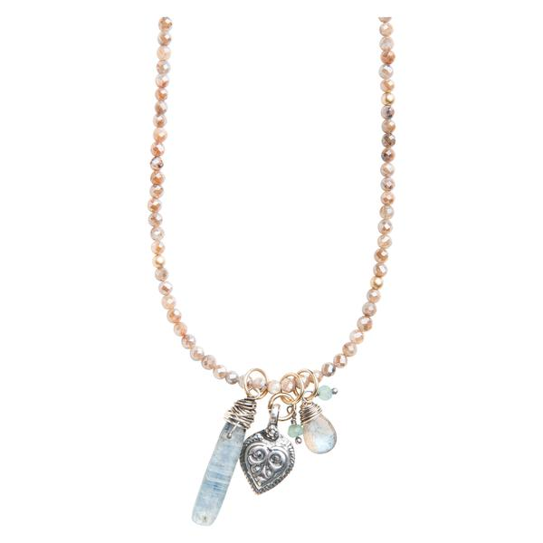 Great Love Vintage Heart Charm Necklace on Mystic Beige Labradorite