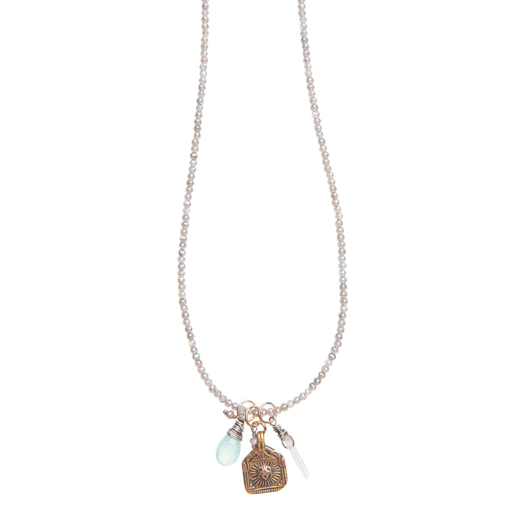 Good Luck Vintage Surya Charm Necklace on Labradorite