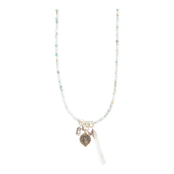 Good Fortune Vintage Lakshmi Charm Necklace on Amazonite
