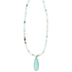 Peruvian Opal Necklace with Bezeled Chalcedony Pendant