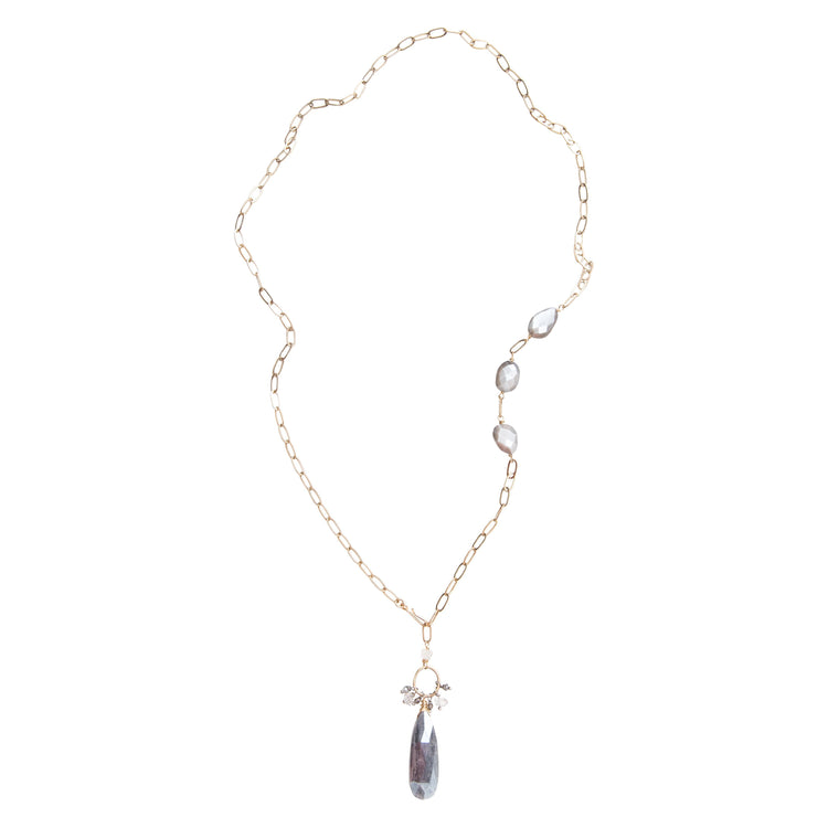 Grey Moonstone Long Drop Necklace