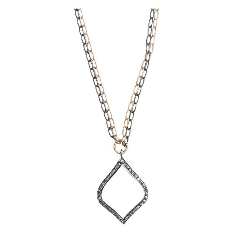 Arabesque Pave Set Diamond Mixed Metal Necklace