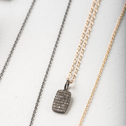 Pave Diamond Dog Tag Necklace