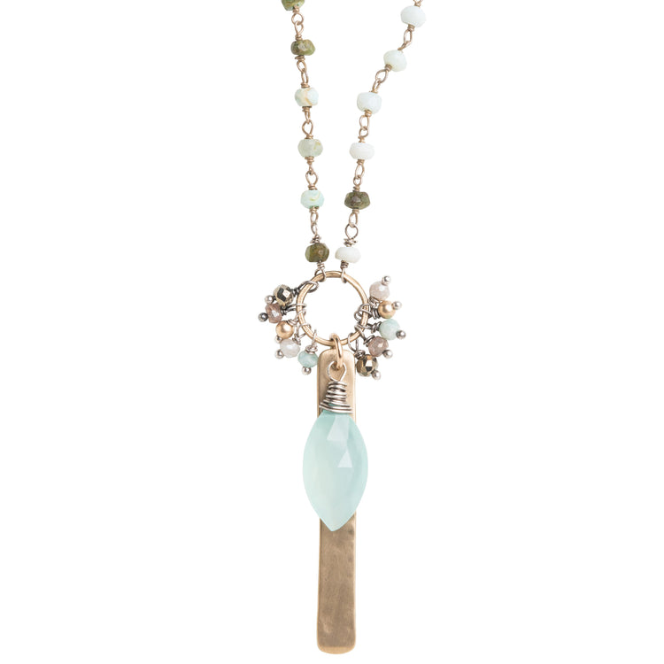 Peruvian Opal and Aqua Chalcedony Statement Necklace
