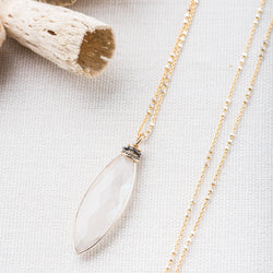 Long Gemstone Pendant Necklace in Gold Fill