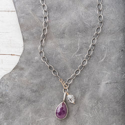 Pink Sapphire Necklace on Chunky Sterling Silver Chain