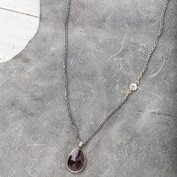 Red Garnet Necklace with Diamond Accent