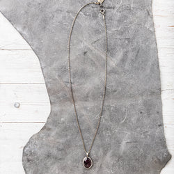 Red Garnet Necklace on Sterling Silver Diamond Cut Chain