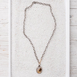 Dentric Agate Pendant Necklace on Sterling Silver Chain