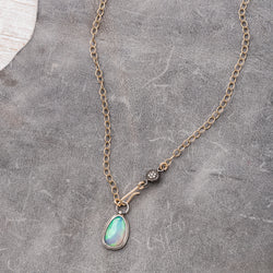 Ethiopian Opal Necklace with Diamond Charm on 14k Gold Fill Chain