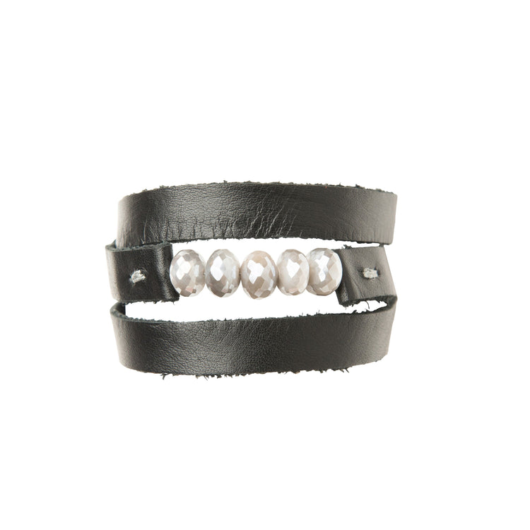 Grey Moonstone and Black Leather Triple Wrap Bracelet