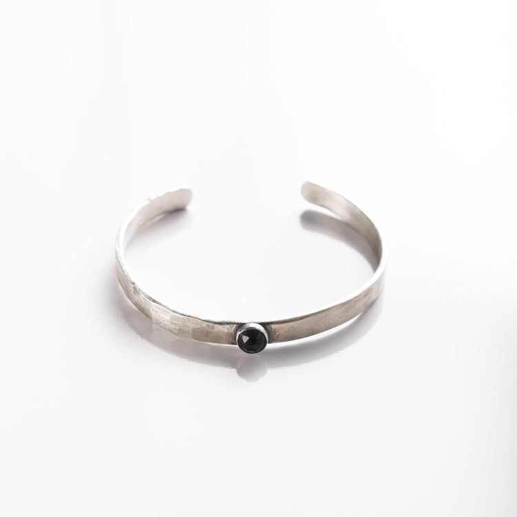 Narrow Silver Hammered Metal Cuff with Gemstone